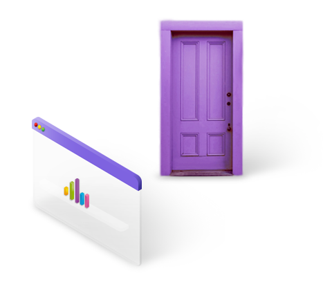 Purple door with stats